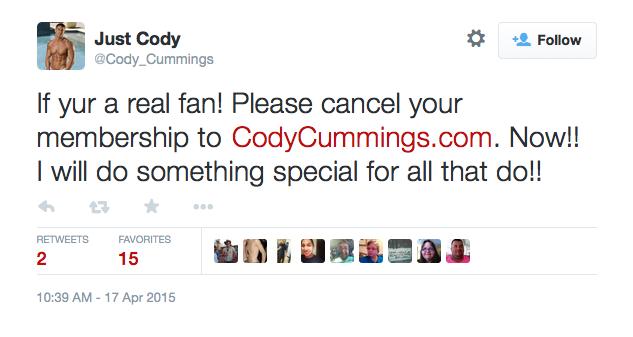 <span style='color: #ff0000;'>Cody Cummings Meltdown: &#8220;Cancel Your Membership To CodyCummings.com&#8221;</span>