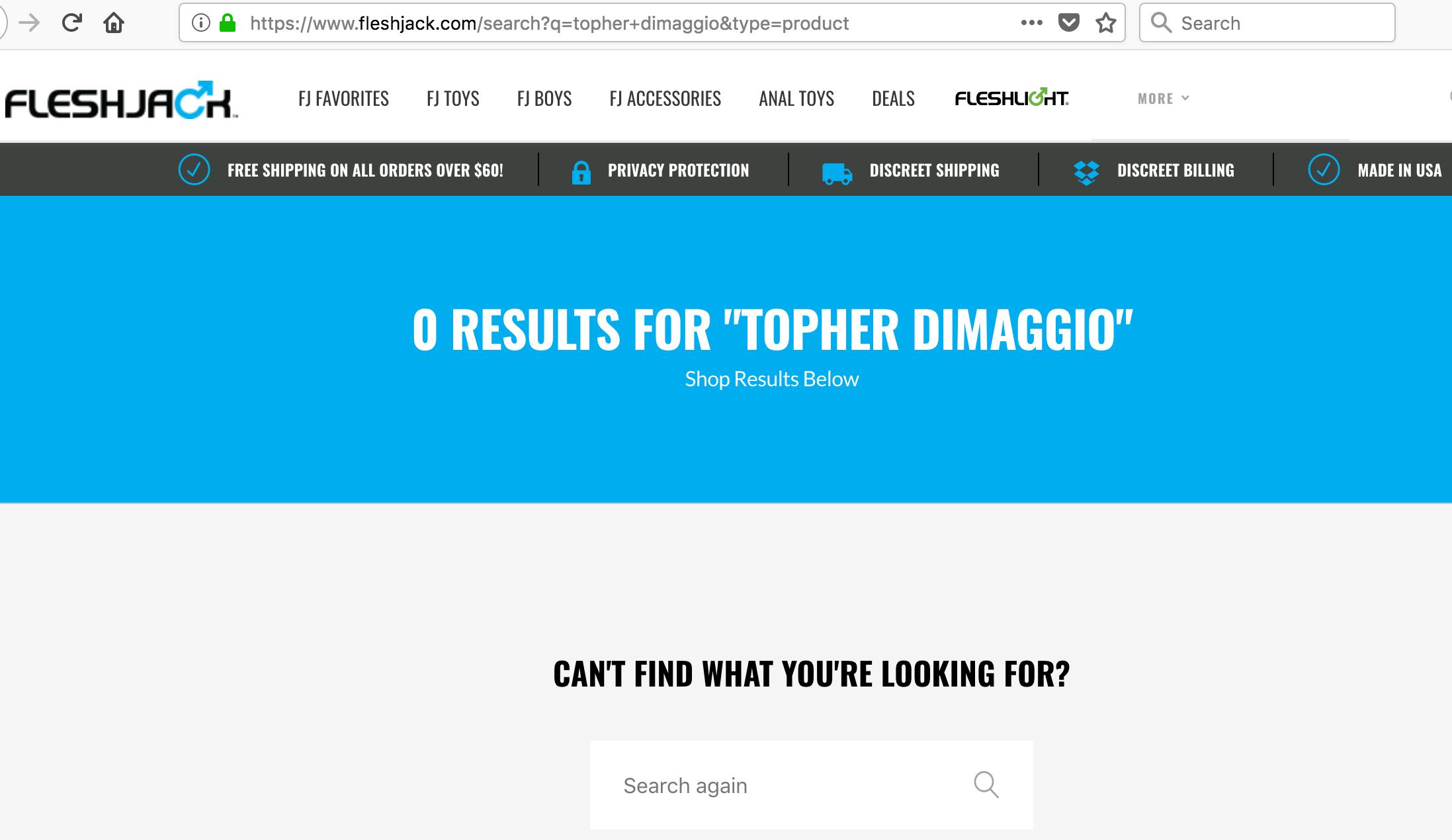 Site da Fleshjack não possui mais conteúdo sobre Topher DiMaggio