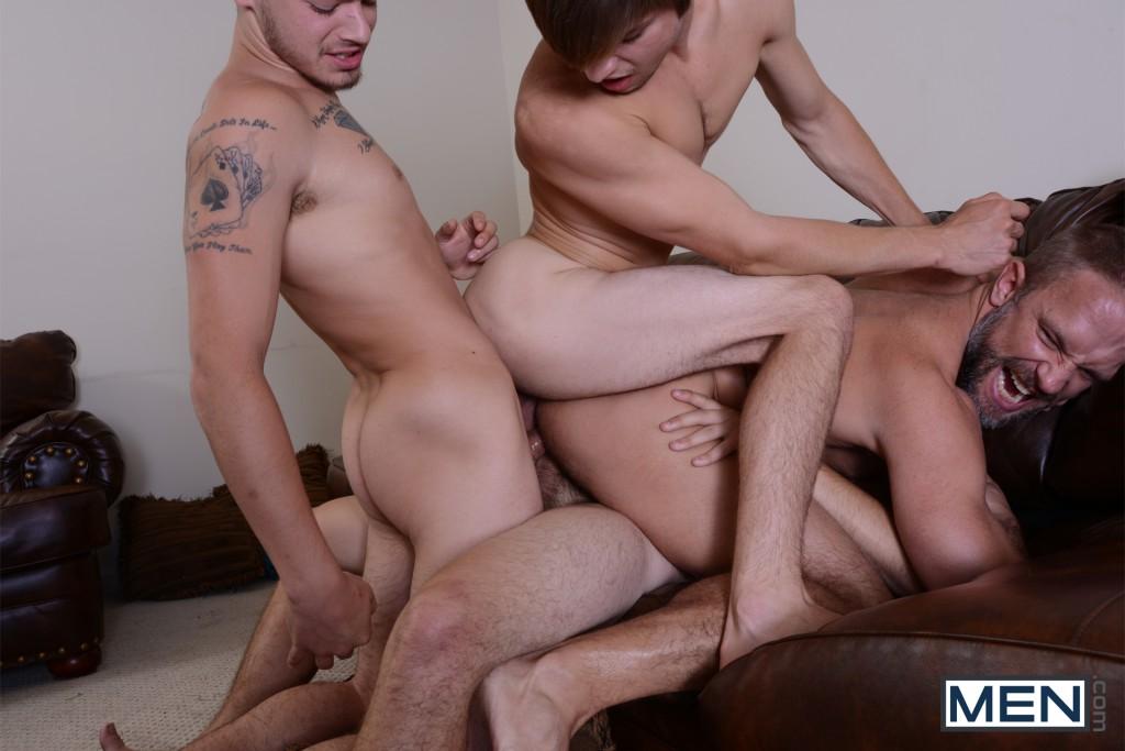 Has Men.com Finally Gone Too Far By Having Dirk Caber's 3 Stepsons Triple-Penetrate Him?