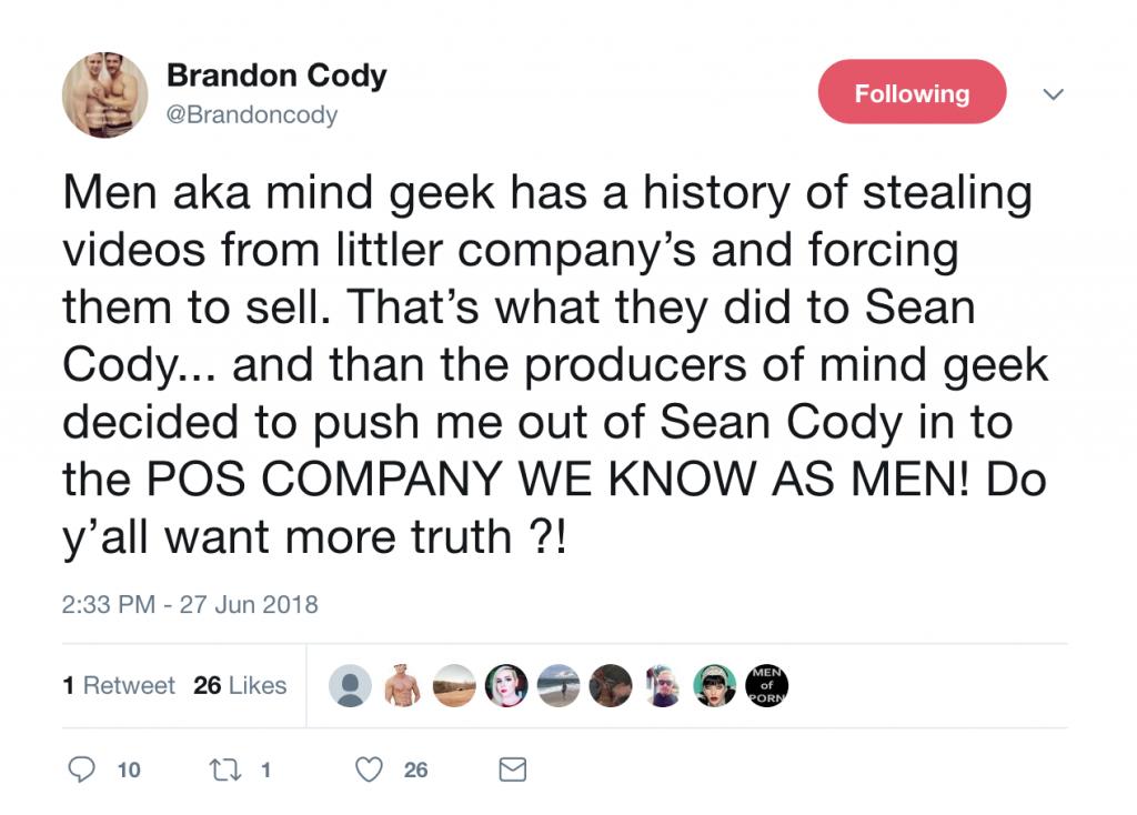 """Men.com's Brandon Cody (a.k.a. Sean Cody's Brandon) Calls Men.com A """"Piece Of Shit Company!"""""""