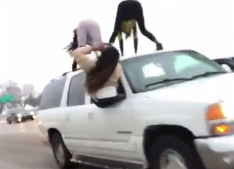Women Caught Twerking Atop SUV During Traffic Jam On Freeway